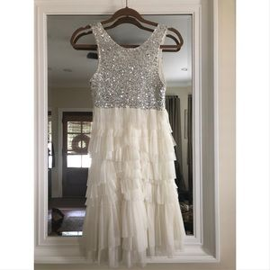 Silver/white Sparkle and Layer Miss Me Dress